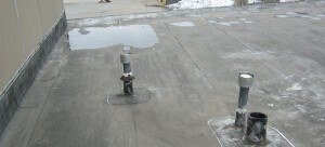 flat roof with pooling water